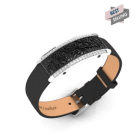 Milan contactless payment wearable bracelet Swarovski crystals black and black leather main view bestseller