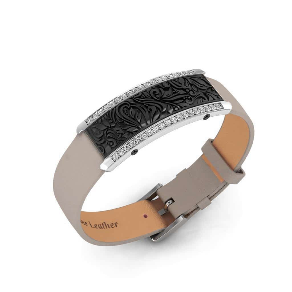 Milan contactless payment wearable bracelet Swarovski crystals black and grey leather main view