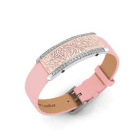 Milan contactless payment wearable bracelet Swarovski crystals shell pink and pink leather main view