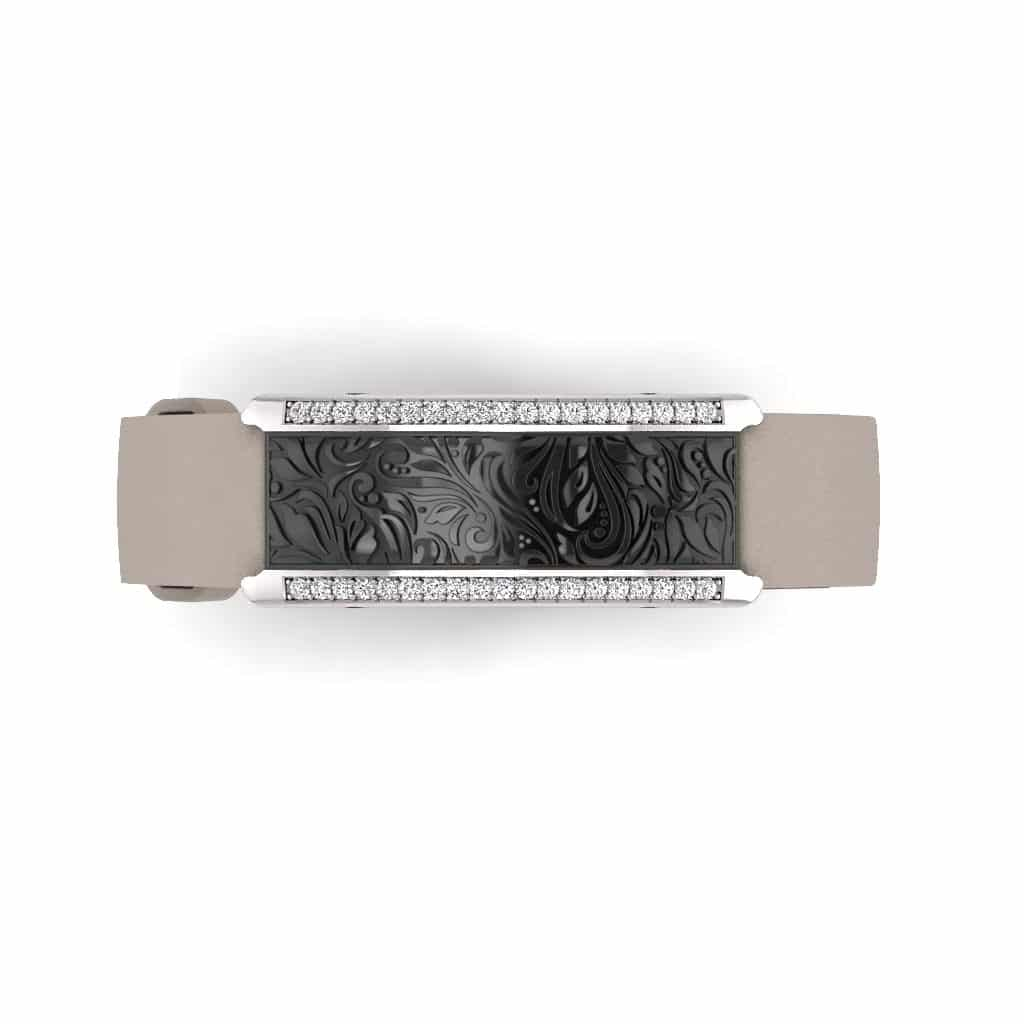 Milan contactless payment wearable bracelet Swarovski crystals black and grey leather overview