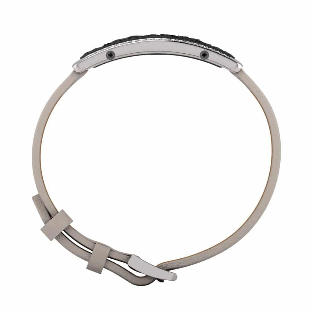 Milan contactless payment wearable bracelet Swarovski crystals black and grey leather side view