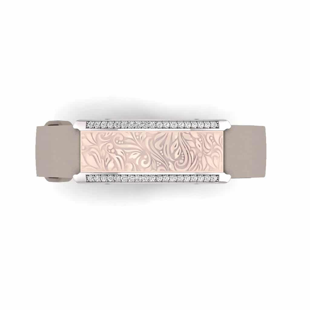 Milan contactless payment wearable bracelet Swarovski crystals shell pink and grey leather overview