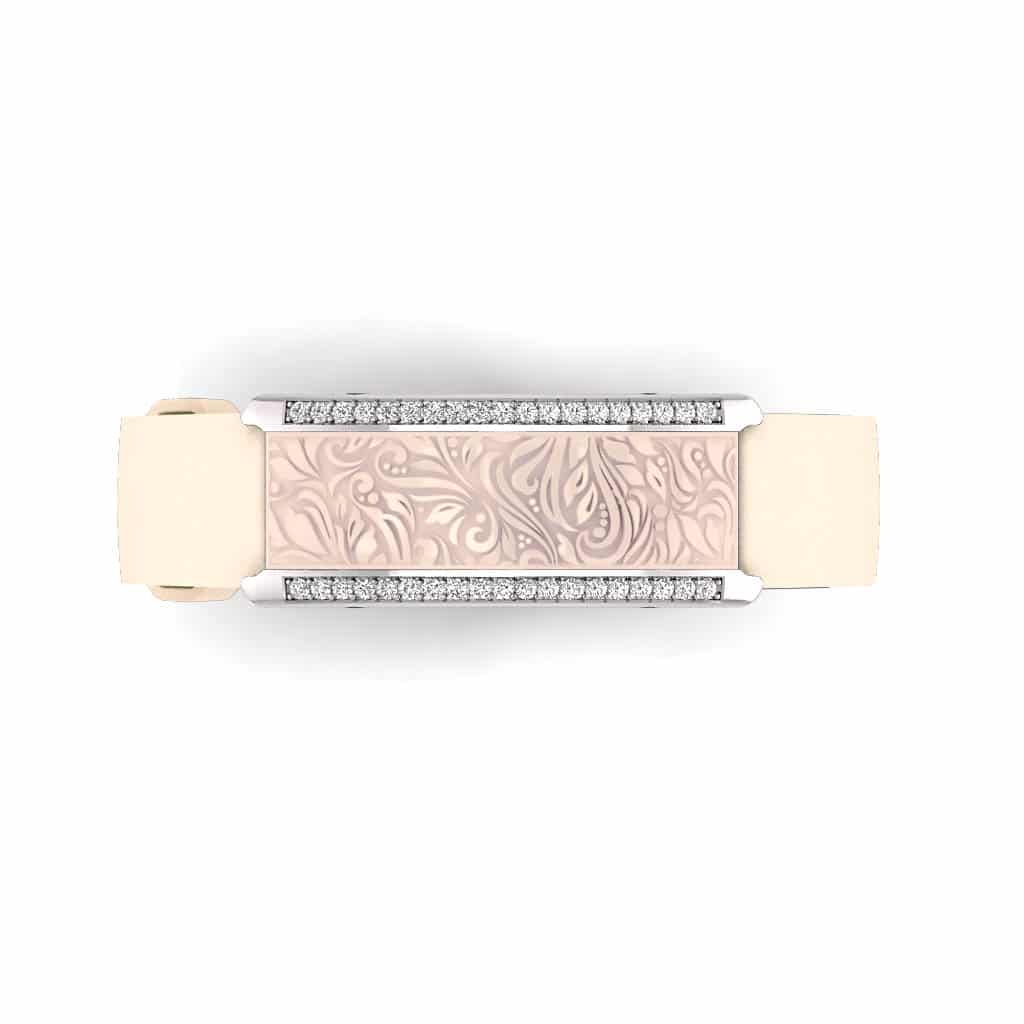 Milan contactless payment wearable bracelet Swarovski crystals shell pink and ivory leather overview