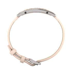 Milan contactless payment wearable bracelet Swarovski crystals shell pink and ivory leather side view