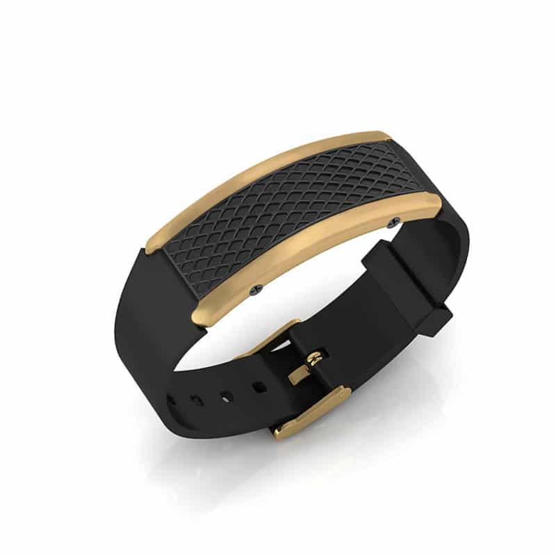 Monaco contactless payment wearable bracelet black and black rubber main view
