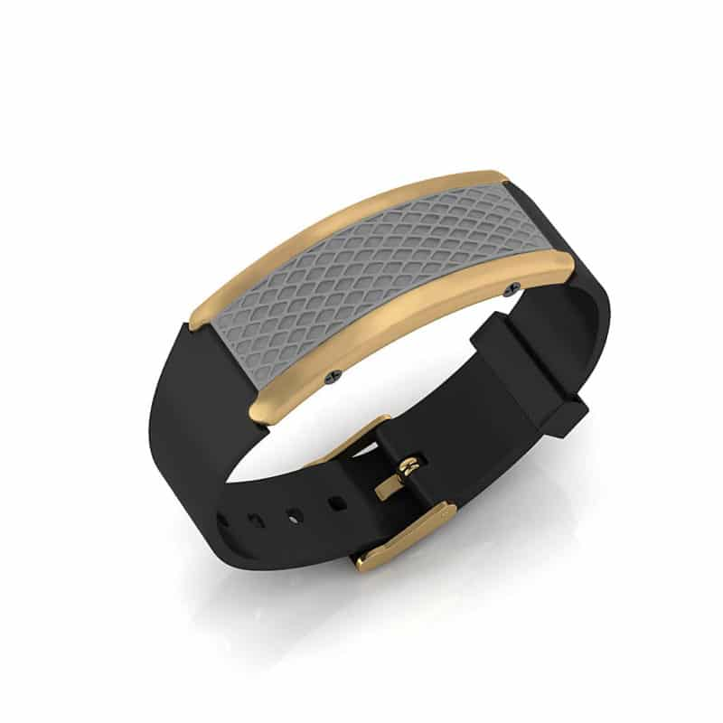 Monaco contactless payment wearable bracelet flint grey and black rubber main view