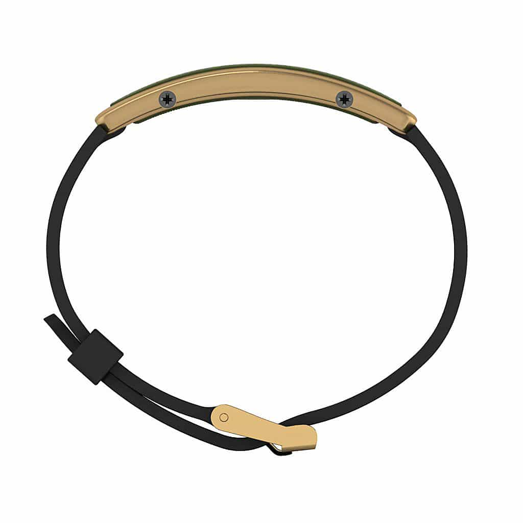Monaco contactless payment wearable bracelet khaki green and black rubber side view