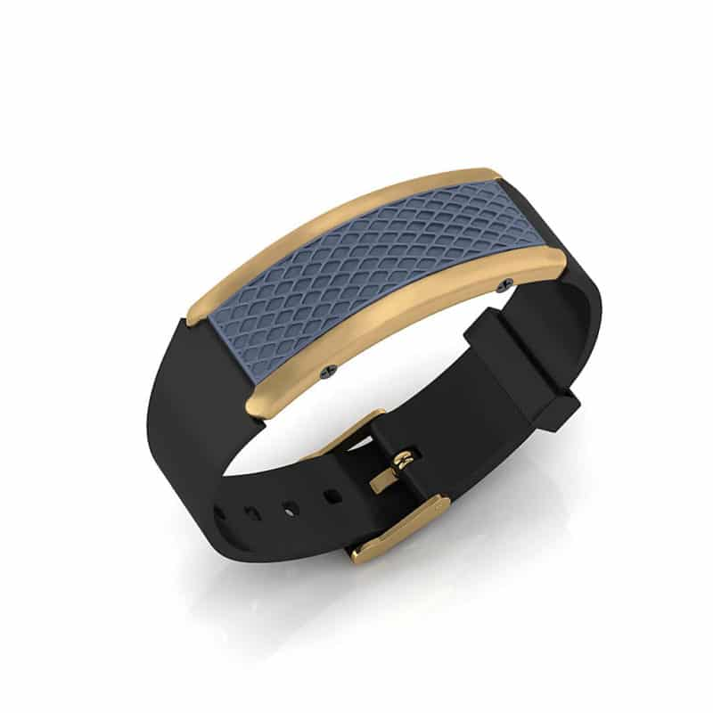 Monaco contactless payment wearable bracelet ocean blue and black rubber main view