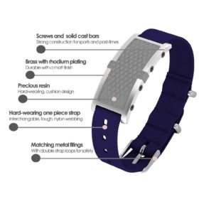 Oxford contactless payment wearable bracelet flint grey and blue nylon product details specification