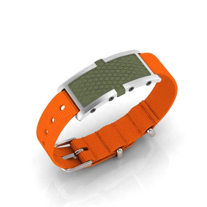 Oxford contactless payment wearable bracelet khaki green and orange nylon main view