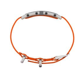 Oxford contactless payment wearable bracelet khaki green and orange nylon side view