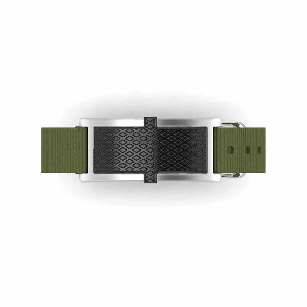 Oxford contactless payment wearable bracelet black and khaki green nylon face and overview