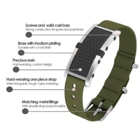 Oxford contactless payment wearable bracelet black and khaki green nylon product details specification