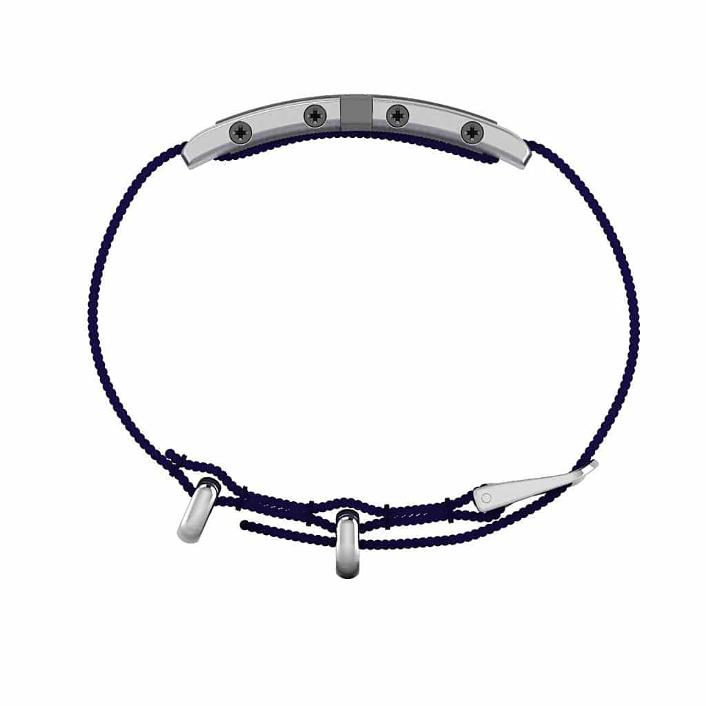 Oxford contactless payment wearable bracelet flint grey and blue nylon side view