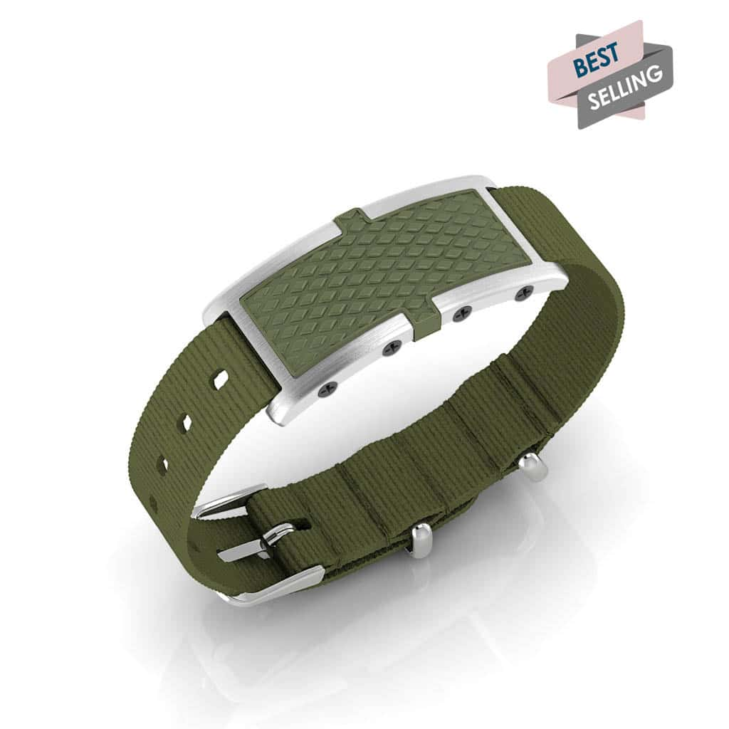 Oxford contactless payment wearable bracelet khaki green and khaki green nylon main view bestseller