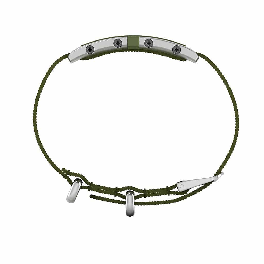 Oxford contactless payment wearable bracelet khaki green and khaki green nylon side view