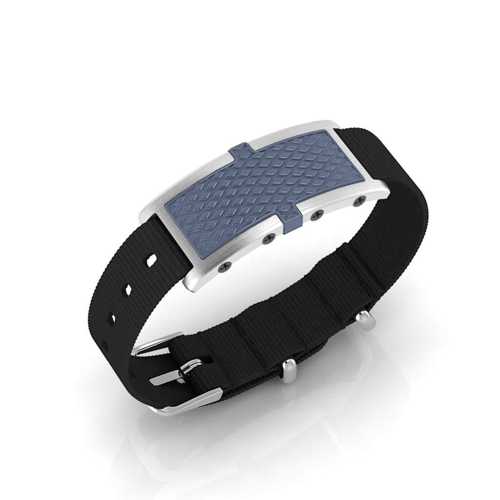 Oxford contactless payment wearable bracelet ocean blue and black nylon main view