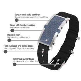 Oxford contactless payment wearable bracelet ocean blue and black nylon product details specification
