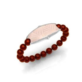Paris contactless payment wearable bracelet Swarovski crystals shell pink and Bordeaux red Swarovski pearls main view