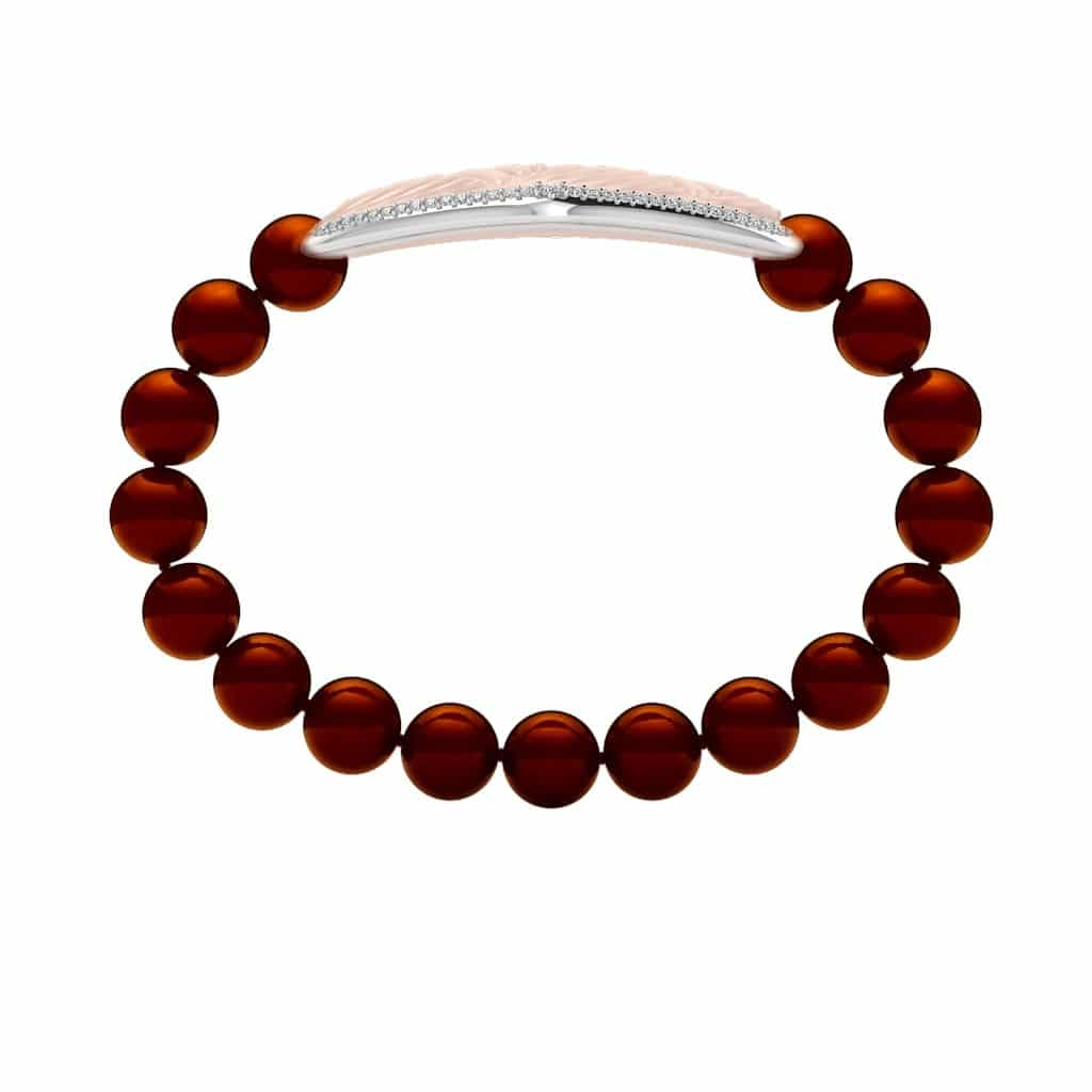 Paris contactless payment wearable bracelet Swarovski crystals shell pink and Bordeaux red Swarovski pearls side view