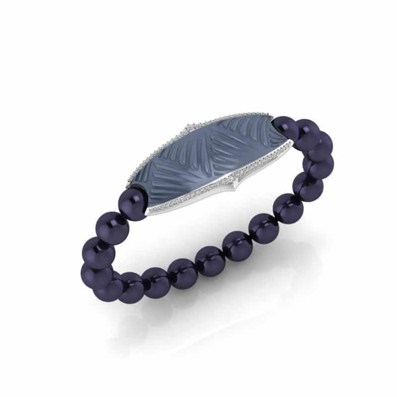 Paris contactless payment wearable bracelet Swarovski crystals ocean blue and midnight blue Swarovski pearls main view