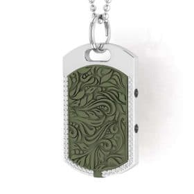 Vienna contactless payment wearable pendant Swarovski crystals khaki green close up