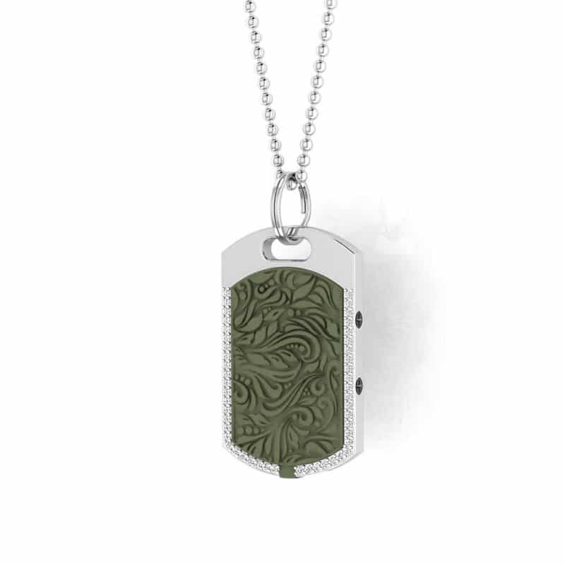 Vienna contactless payment wearable pendant Swarovski crystals khaki green main view